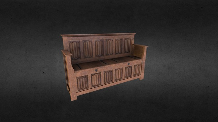 15th century bench / Chest 3D Model