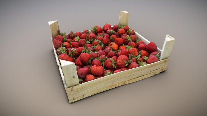 A box with strawberries. Scan. 3D Model