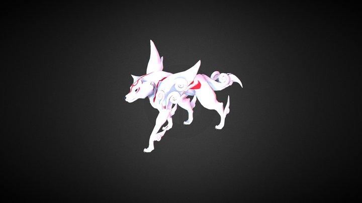 Okami Lowpoly Animation 3D Model