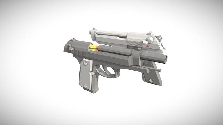 「Low Poly」Beretta 92fs V2 3D Model