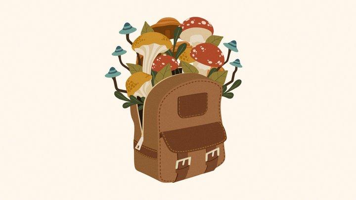 Backpack Mushrooms 3D Model