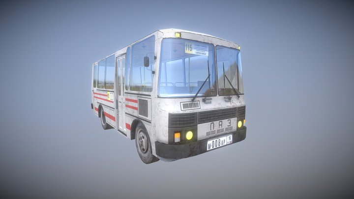 PAZ-3205 Russian Bus LOW POLY MODEL 3D Model