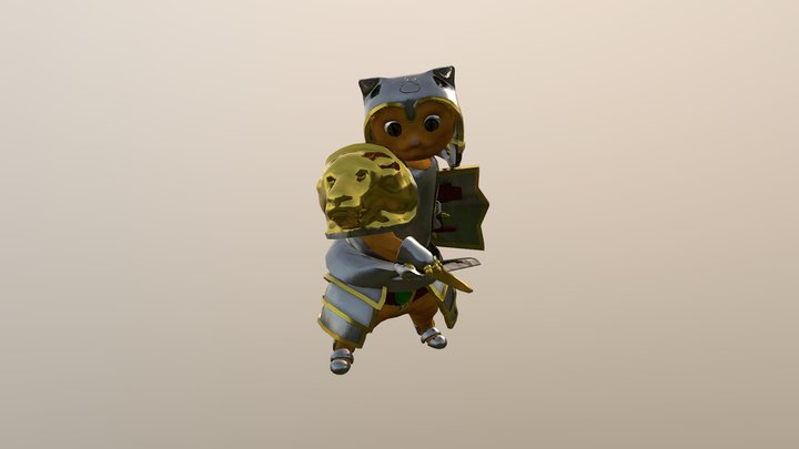 Kitten Warrior 3D Model