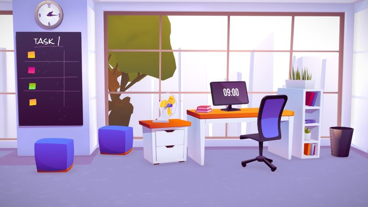 OFFICE WORK DESK LOWPOLY BUREAU GAME ASSETS 3D Model