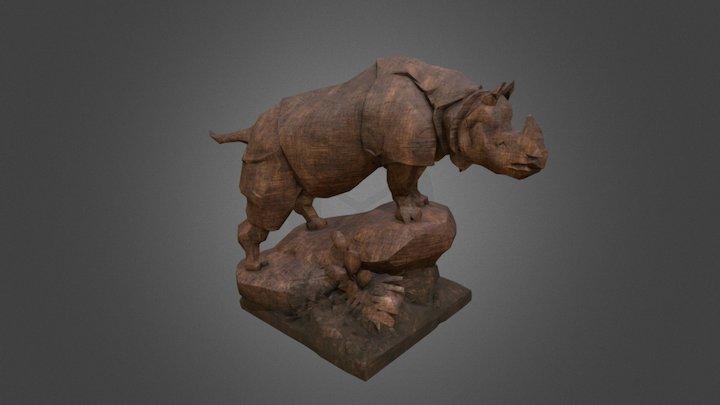 Rhino wood statue 3D Model