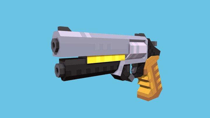 Cyberpunk Revolver - Blockbench 3D Model