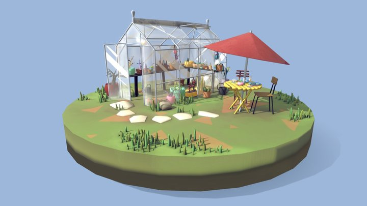Breakfast by the Greenhouse 3D Model