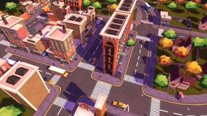 Urban Neighbourhood Scene 3D Model