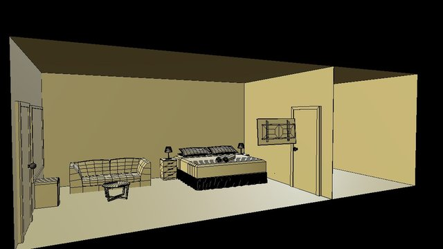 WIP Hotel Room With Super King Bed 3D Model