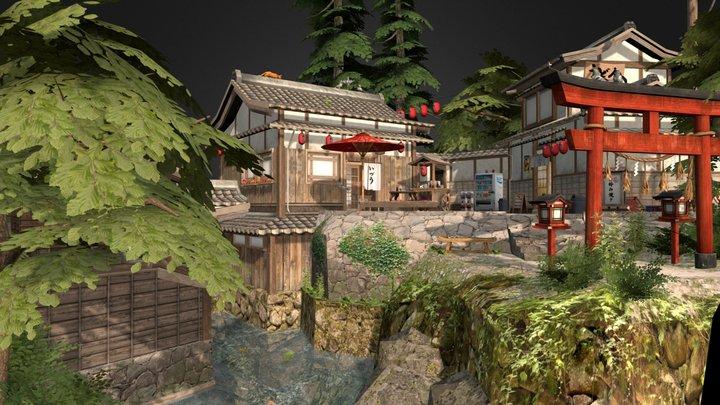 Kyoto Cityscene Diorama 3D Model
