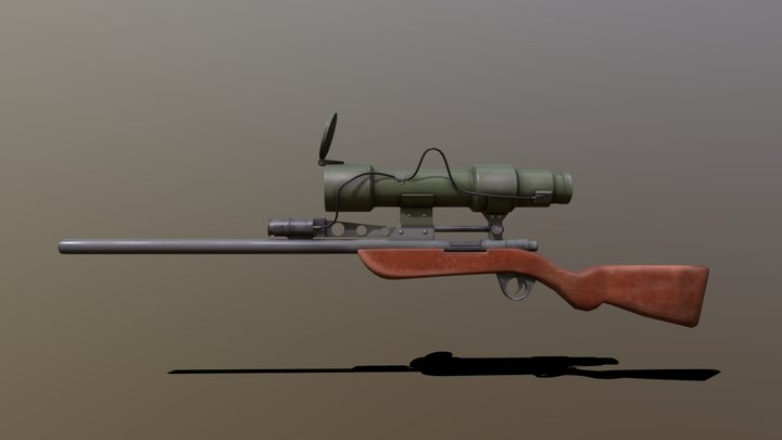 Low poly TF2 Sniper's Rifle 3D Model