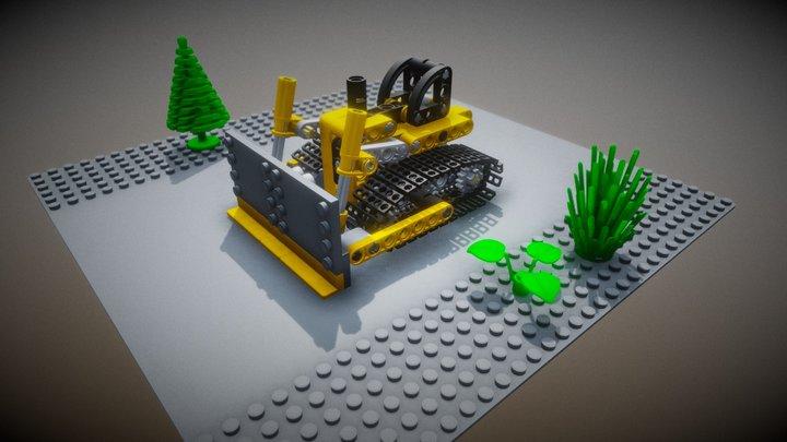 Lego Mini Bulldozer + Background 3D Model