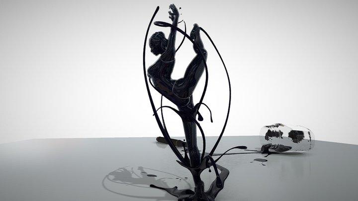 Ballerina Abstract Ink Design 3D Model