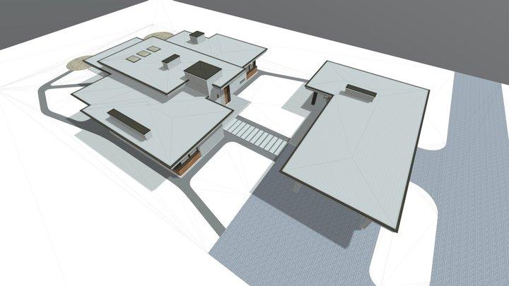 Одноэтажный дом с отдельностоящим гаражом 3D Model