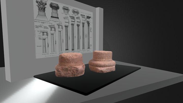 PAR DE BASES DE COLUNAS ROMANAS 3D Model