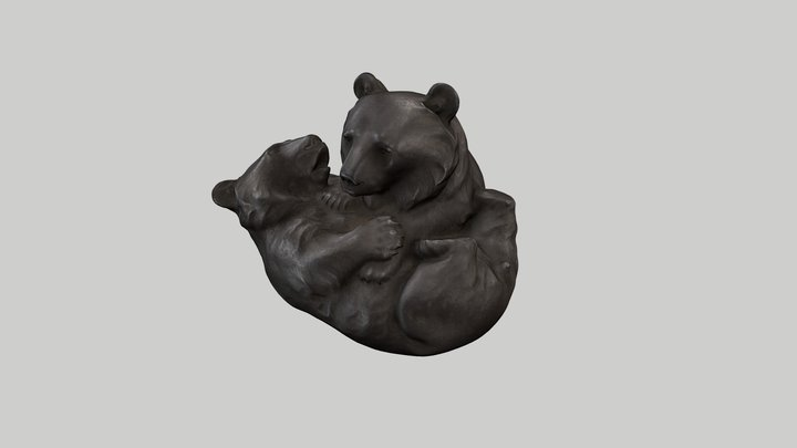 Sculpture of two bear cubs at play 3D Model