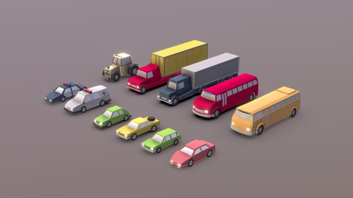 Pack of low-poly urban vehicles. 3D Model