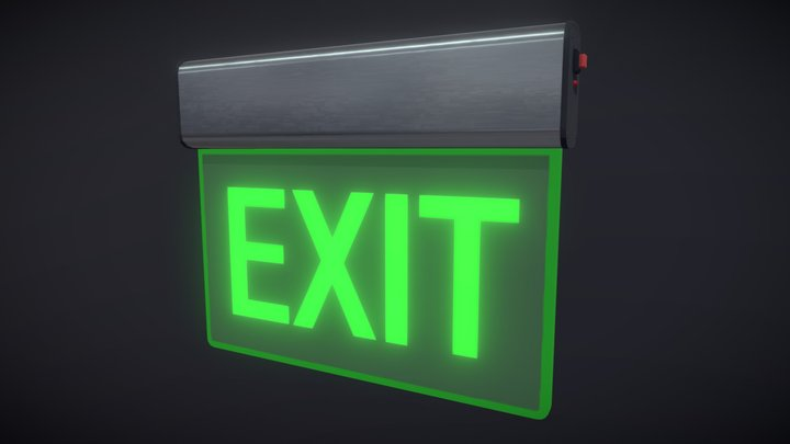 Exit Sign - Low Poly 3D Model