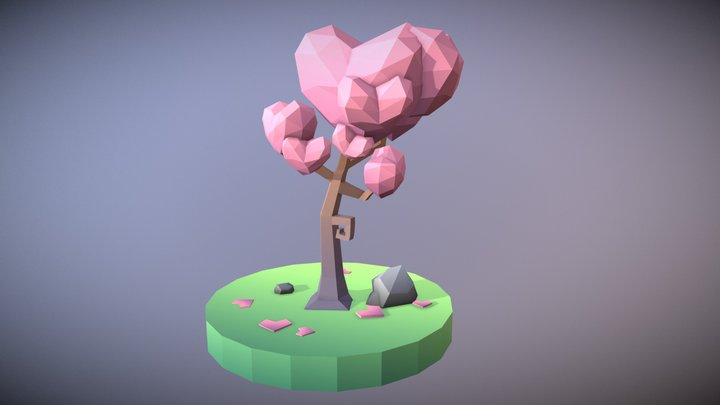 Low Poly Tree: The Tree Of Hearts 3D Model