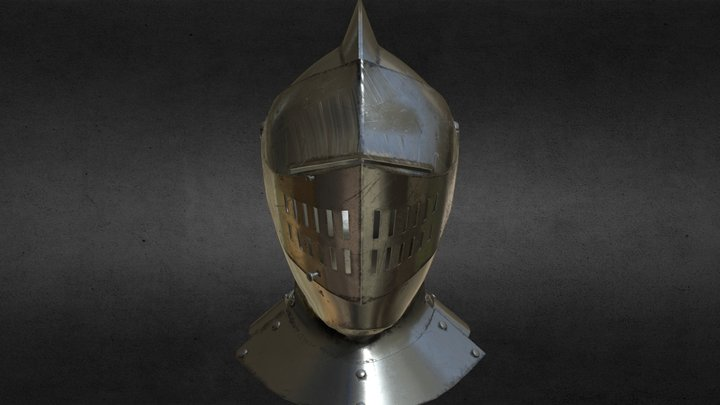 Medieval Knight Armet Helmet 3D Model