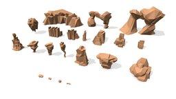 Low Poly Landscape Set 3D Model