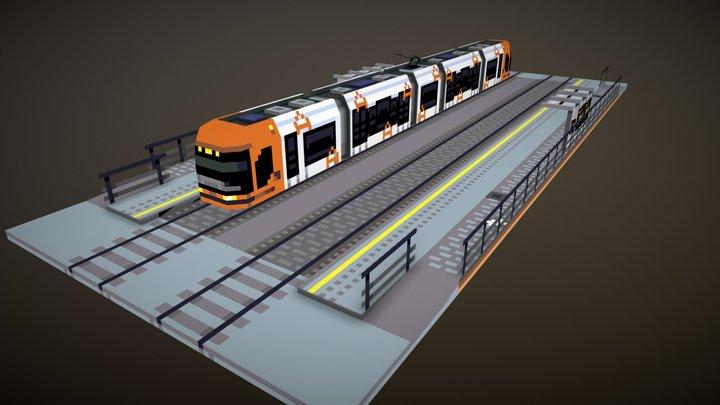 Lowpoly Tram 3D Model