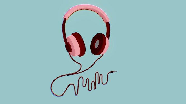 Headphones - flat colour 3D Model