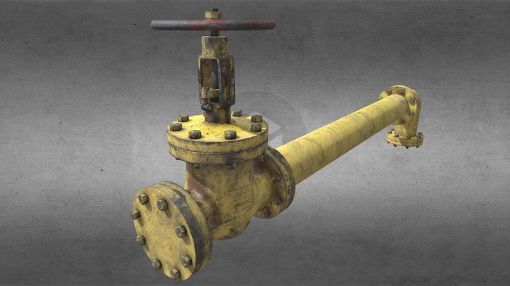 PBR valve and pipe Kit 3D Model