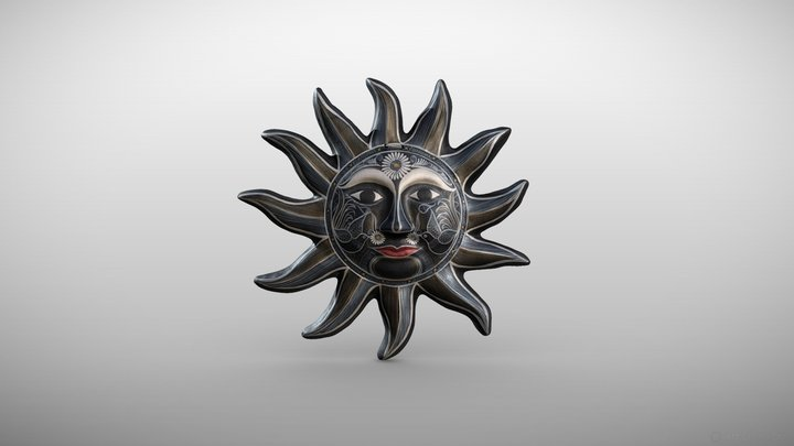 """Handpainted Sun"" - Mexican craft 3D Model"