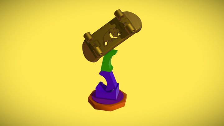 Enjoy skateboard monument 3D Model