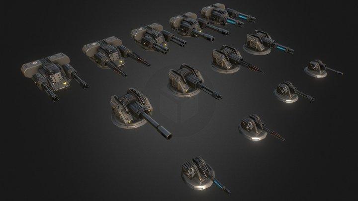 Battleships NEW Turrets 3D Model