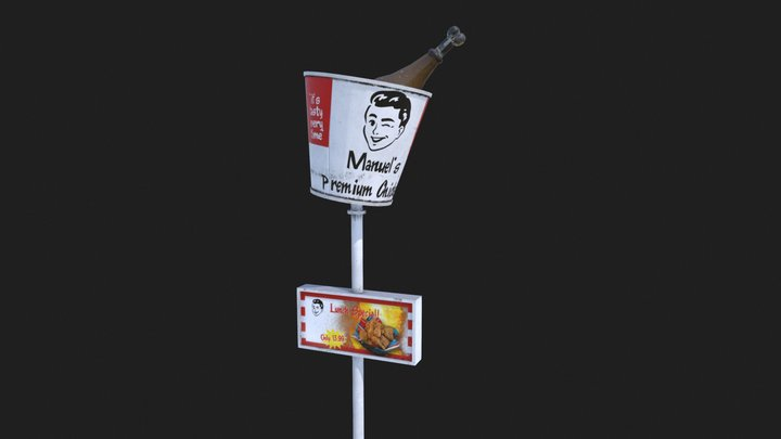 Fast Food Restaurant Sign 3D Model