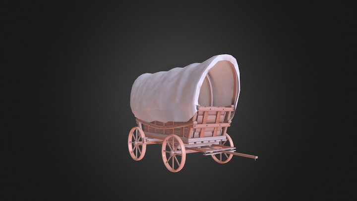 Old Western Wagon - Colored 3D Model