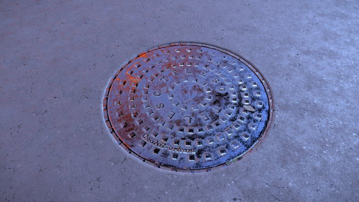 FREE - Realistic Manhole PBR 2K Material 3D Model