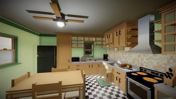 Kitchen - 1 inch to 1 voxel scale - MagicaVoxel 3D Model