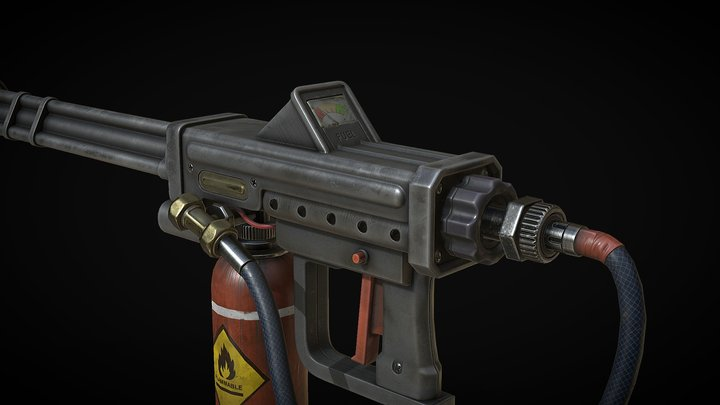 Military Flame Thrower - Rust 3D Model