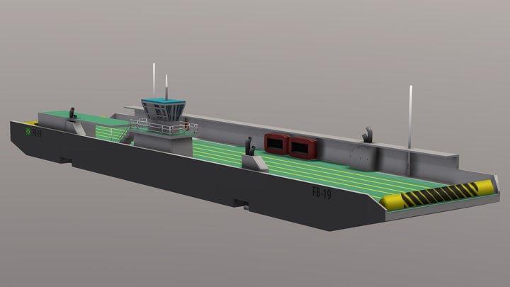 Balsa Ferry Santos Brazil 3D Model