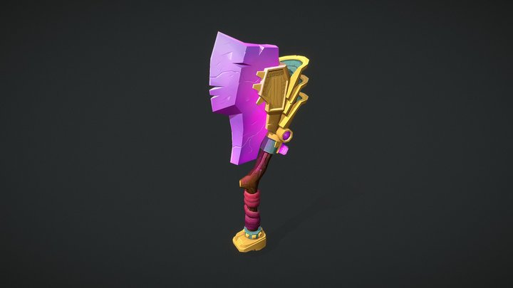 Aztec inspired battle axe 3D Model