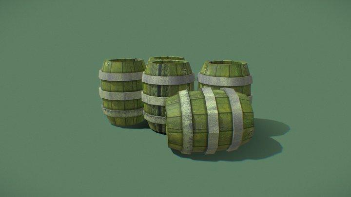 Mossy Barrels 3D Model