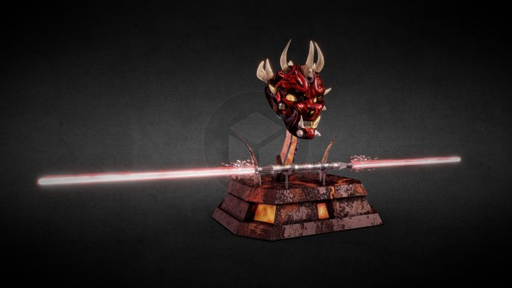 Darth Maul Altar, Mask and double Sword 3D Model