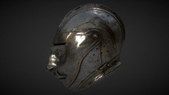 Helmet with Grotesque Visor 3D Model