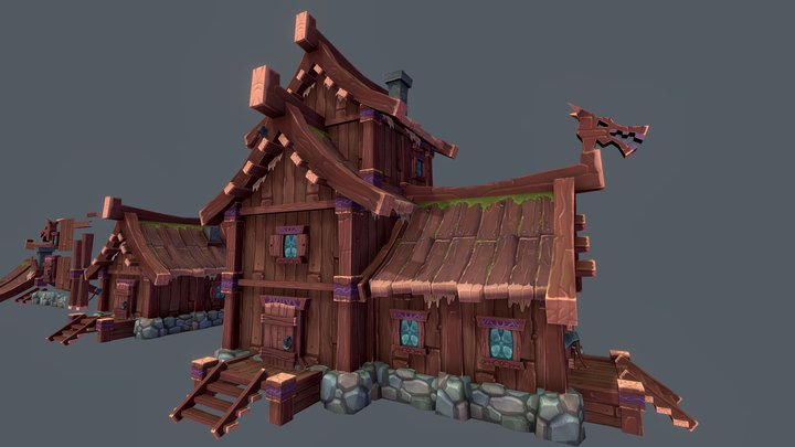 Modular Wooden Village 3D Model