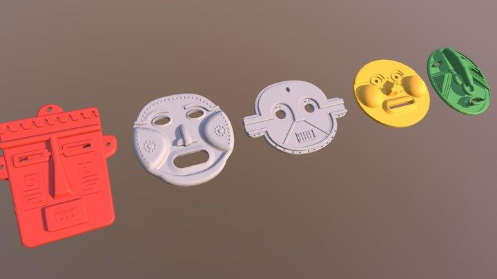 Pre-Colombian Masks 3D Model