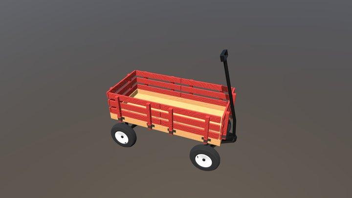 Little Red Wagon 3D Model