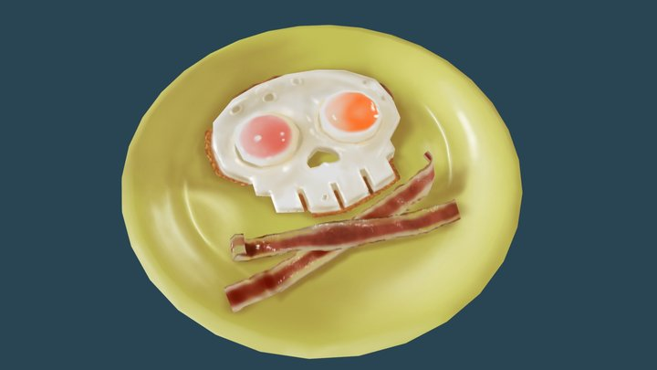 Skull Fried Eggs Bacon 3D Model