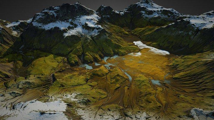 Iceland landscape (World Machine) 3D Model