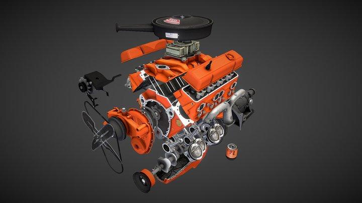 Disassembled  V8 Small Block engine 3D Model