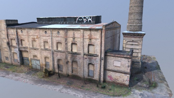 Abandoned brick factory with a large chimney. 3D Model