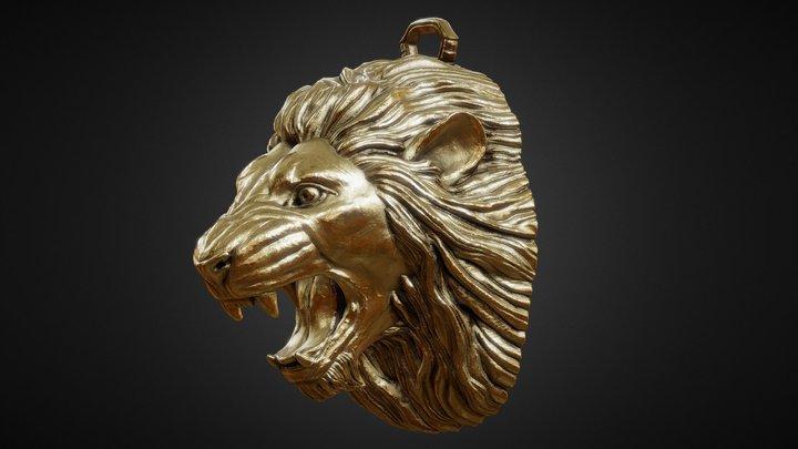 Golden Lion Pendant 3D Model