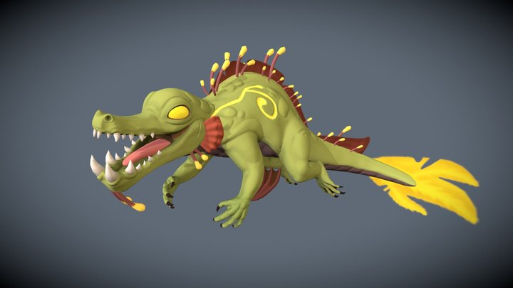 Caiman River God 3D Model